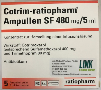 Picture of  Cotrim Ratiopharm 480mg/5mL sulfamethoxazole 400mg trimethoprim 80mg - carton
