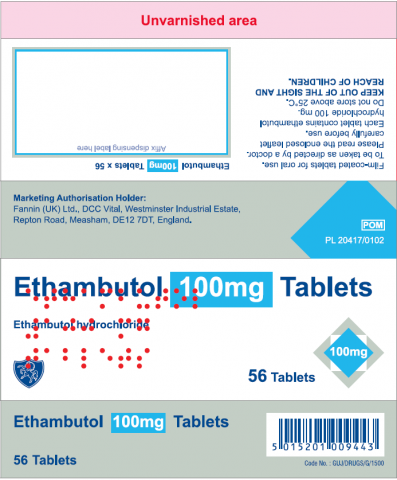 Picture of Ethambutol (ethambutol hydrochloride) 100mg Tablets - carton