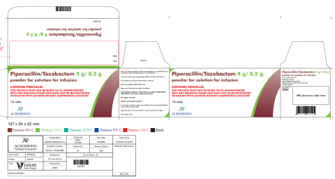 Picture of Piperacillin/Tazobactam 4g/0.5g powder for solution for infusion Carton (Aurobindo)