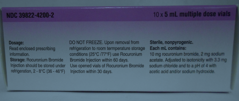 Picture of ROCURONIUM BROMIDE injection for intravenous use 50mg/5mL Carton side
