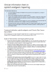 Clinician information sheet on opioid analgesic tapering