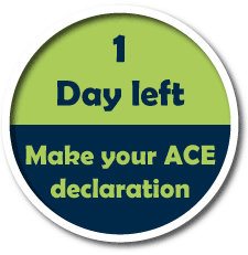 1 day left - Make your ACE declaration