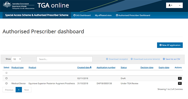 screenshot showing Authorised Prescriber dashboard