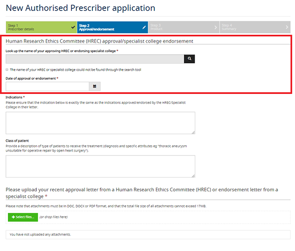 screenshot showing New Authorised Prescriber application - Step 2