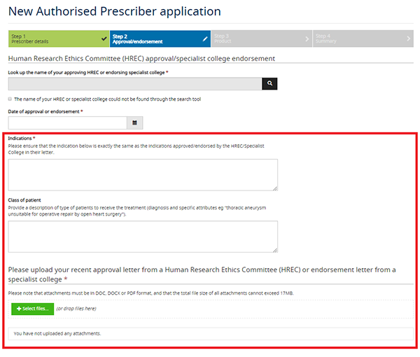 screenshot showing New Authorised Prescriber application - Step 2 - Indications and Class of patient