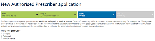 screenshot showing New Authorised Prescriber application - Step 3