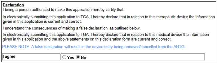 Screenshot showing the declaration to be agreed to before submitting the application