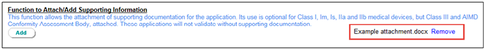 Screenshot showing which supporting documents have been attached to the application. Described in text.