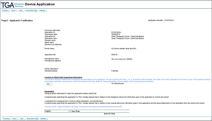 Screenshot of applicant's certification