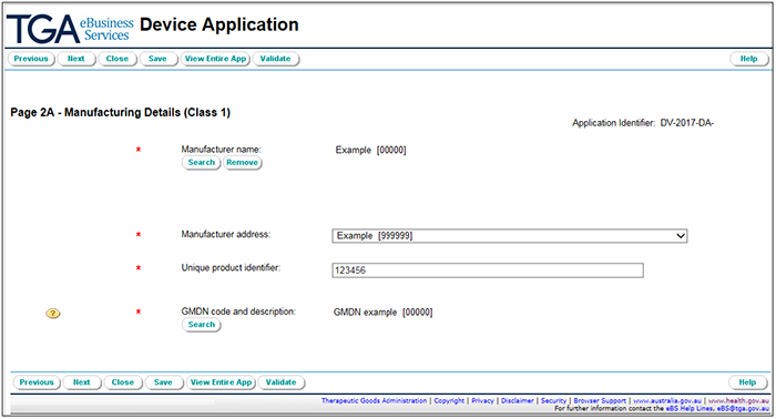 Screenshot showing overall view of page 2 of the application form