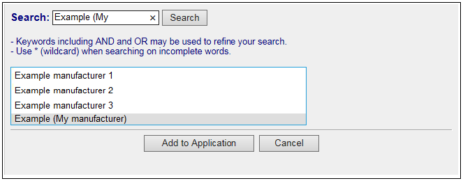 Screenshot showing search function to select the relevant manufacturer. Described in text.