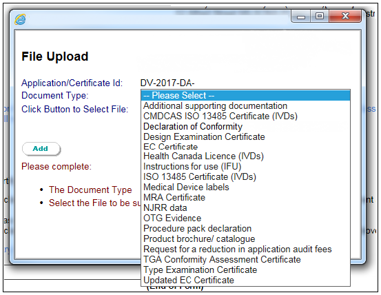 Screenshot showing how to select the type of supporting document you want to attach to the application. Described in text.