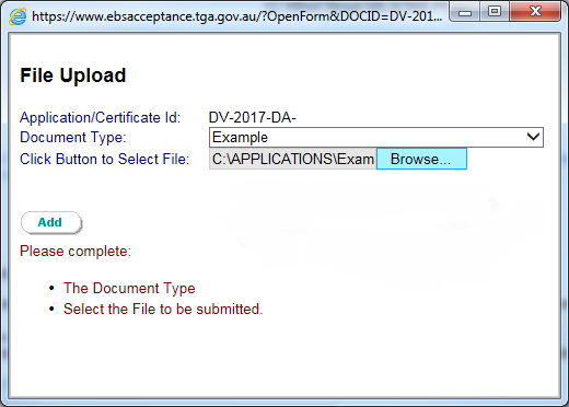Screenshot showing how to search for, and attach, supporting documents to the application. Described in text.