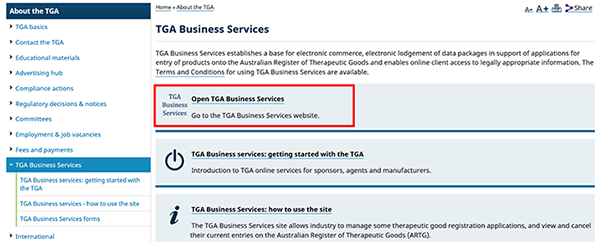 screenshot showing location of 'Open TGA Business Services' link (first section in content area of page)