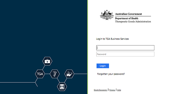 screenshot showing TGA Business Services login screen