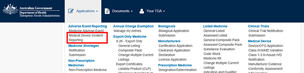 screenshot showing location of Medical Device Incident Reporting in the Applications menu (2nd option under Adverse Event Reporting)