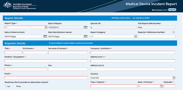 screenshot showing the fields for Report Details and Reporter Details