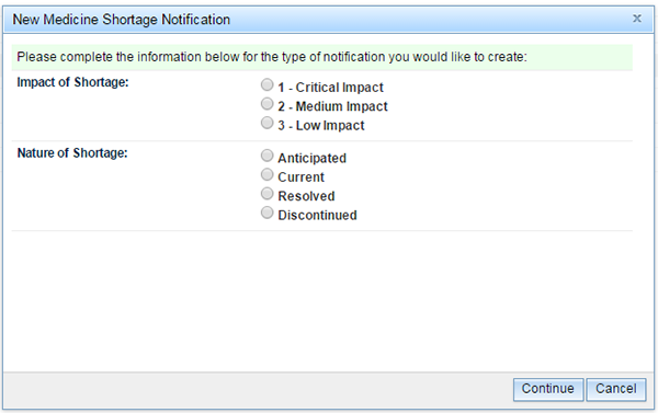 screenshot of 'Impact of Shortage' and 'Nature of Shortage' fields