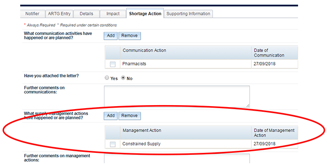 screenshot showing location of Management Actions