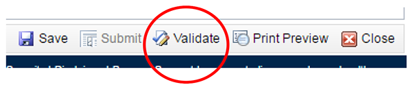screenshot showing location of Validate option