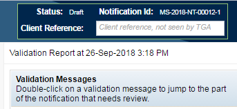 screenshot showing Validation Report and messages
