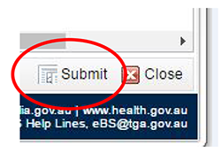 screenshot showing location of Submit button