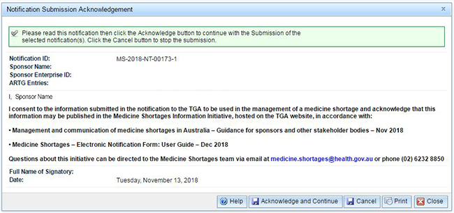 screenshot of Notification Submission Acknowledgement dialogue box
