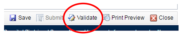 screenshot showing location of Validate button