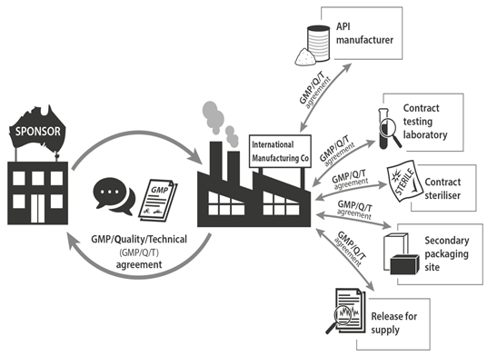 A typical global supply chain - Description: The Australian marketing authorisation holder (the sponsor) has a direct relationship with the primary manufacturer of the product. This relationship consists of a two way communication flow and signed GMP/Quality or technical agreement. In addition, the primary manufacturer has a supply chain and contracted manufacturing sites, including the API supplier, contract testing lab, contract steriliser, contract secondary packager and contract Authorised Person (AP) performing release for supply.