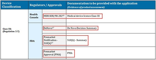screenshot - - Class IIb showing Approvals and Documentation examples