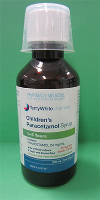 Bottle of Terry White Chemist's branded Children's paracetamol syrup - 1-5 years