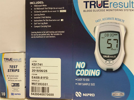 Trueresult test strips and blood glucose monitoring system packaging