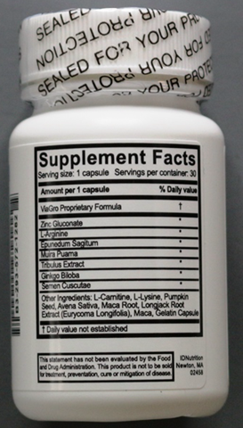 ViaGro 500mg Male Enhancement Supplement Facts