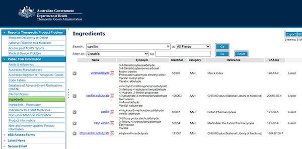 screenshot showing search results for vanillin