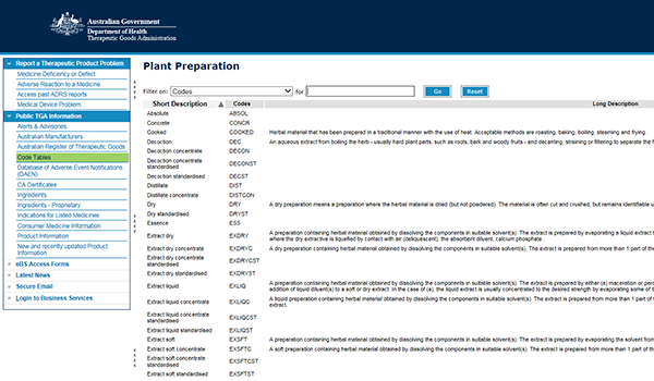 screenshot showing Plant Preparation approved terminology