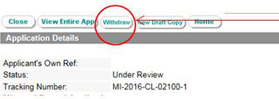 screenshot showing the highlighting withdraw button to withdraw a gmp clearance application